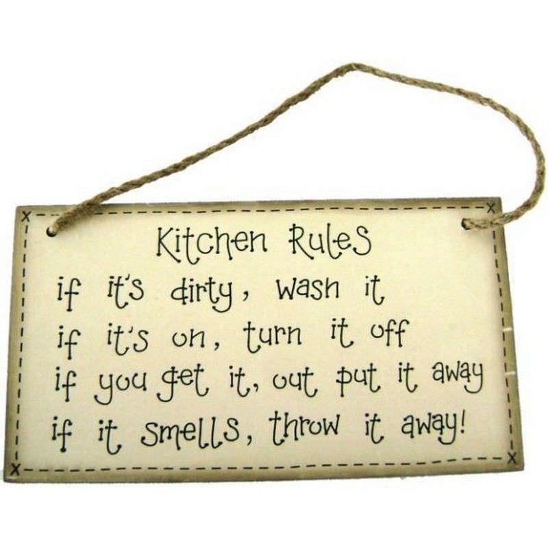 Kitchen Rules Sign   20cm X 11cm