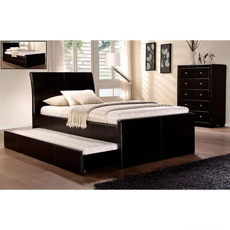New Lecca King Single PU Leather Bed in Brown with Matching Trundle