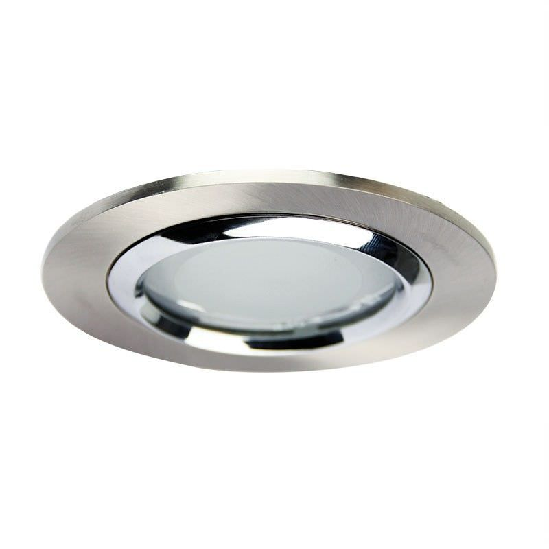 Vida Glass Covered Downlight - Brushed Chrome (Oriel Lighting)
