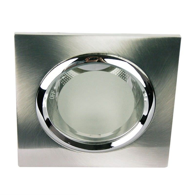 Vida Square Glass Covered Brushed Chrome Recessed Downlight (Oriel Lighting) (LF4595BCH)