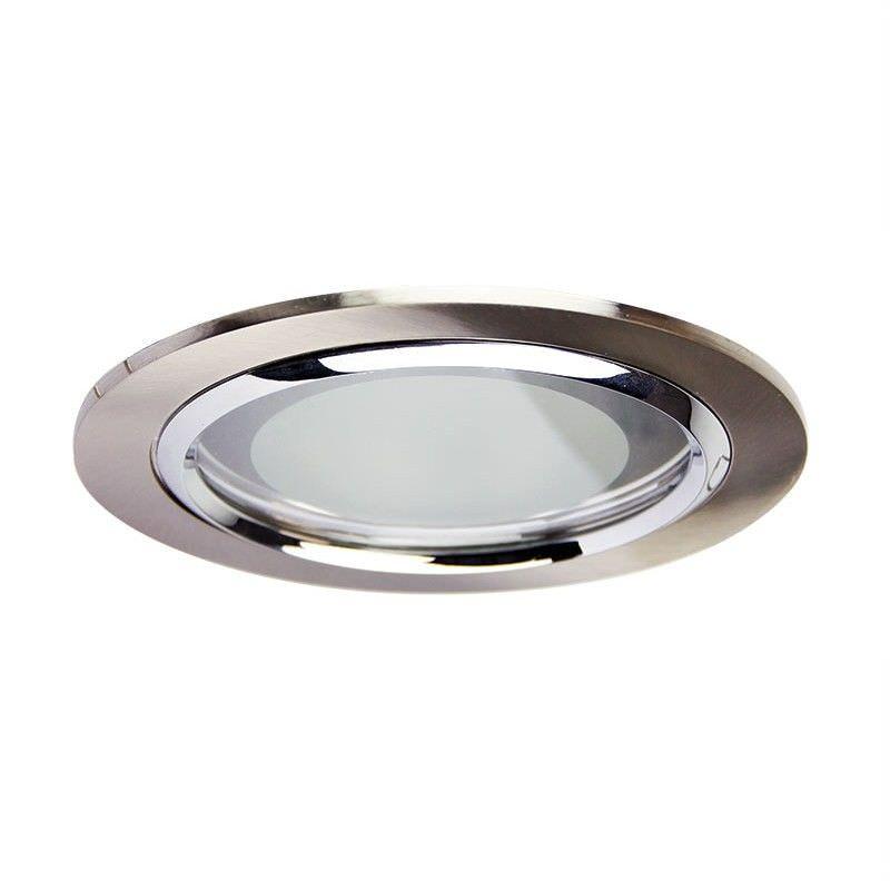 Vida Glass Covered Brushed Chrome Recessed Downlight (Oriel Lighting)