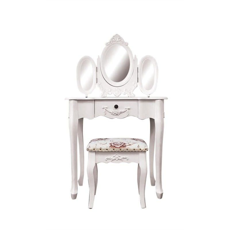 Ivry French Style Wooden Dressing Table with Mirrors and Garches Dressing Stool