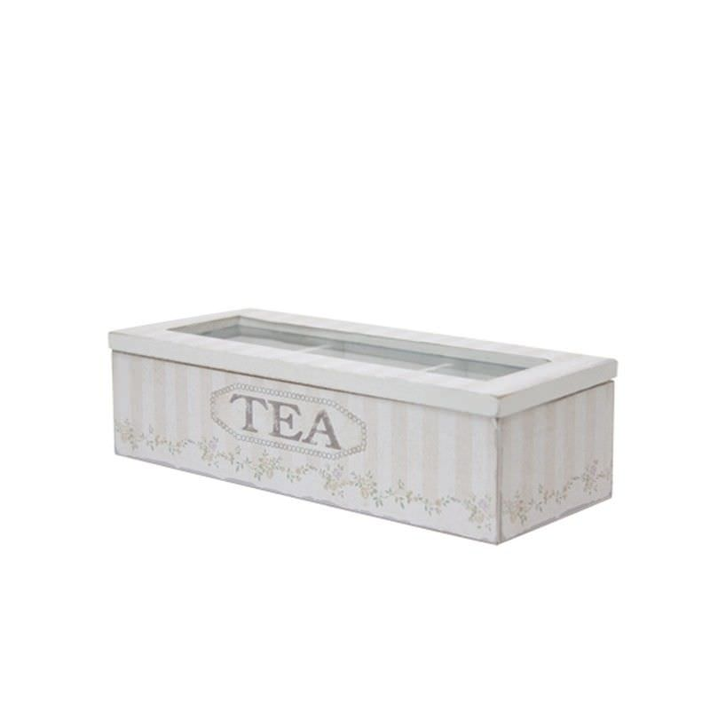 Wooden Tea Box in Cream - Small
