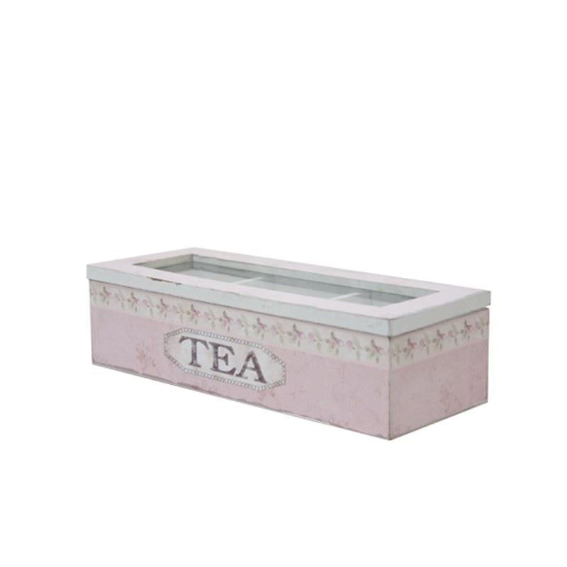 Wooden Tea Box in Pink - Small