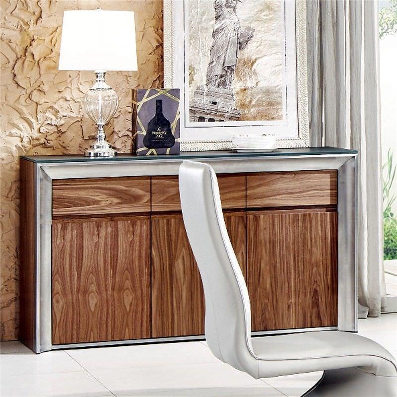 Omarosa Glass Top 3 Door 3 Drawer 150cm Buffet Table