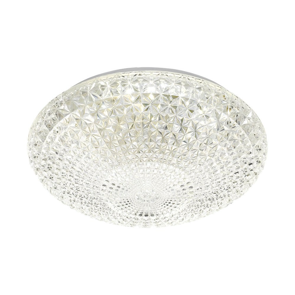 Lilac Cut Glass LED Oyster Ceiling Light, Large