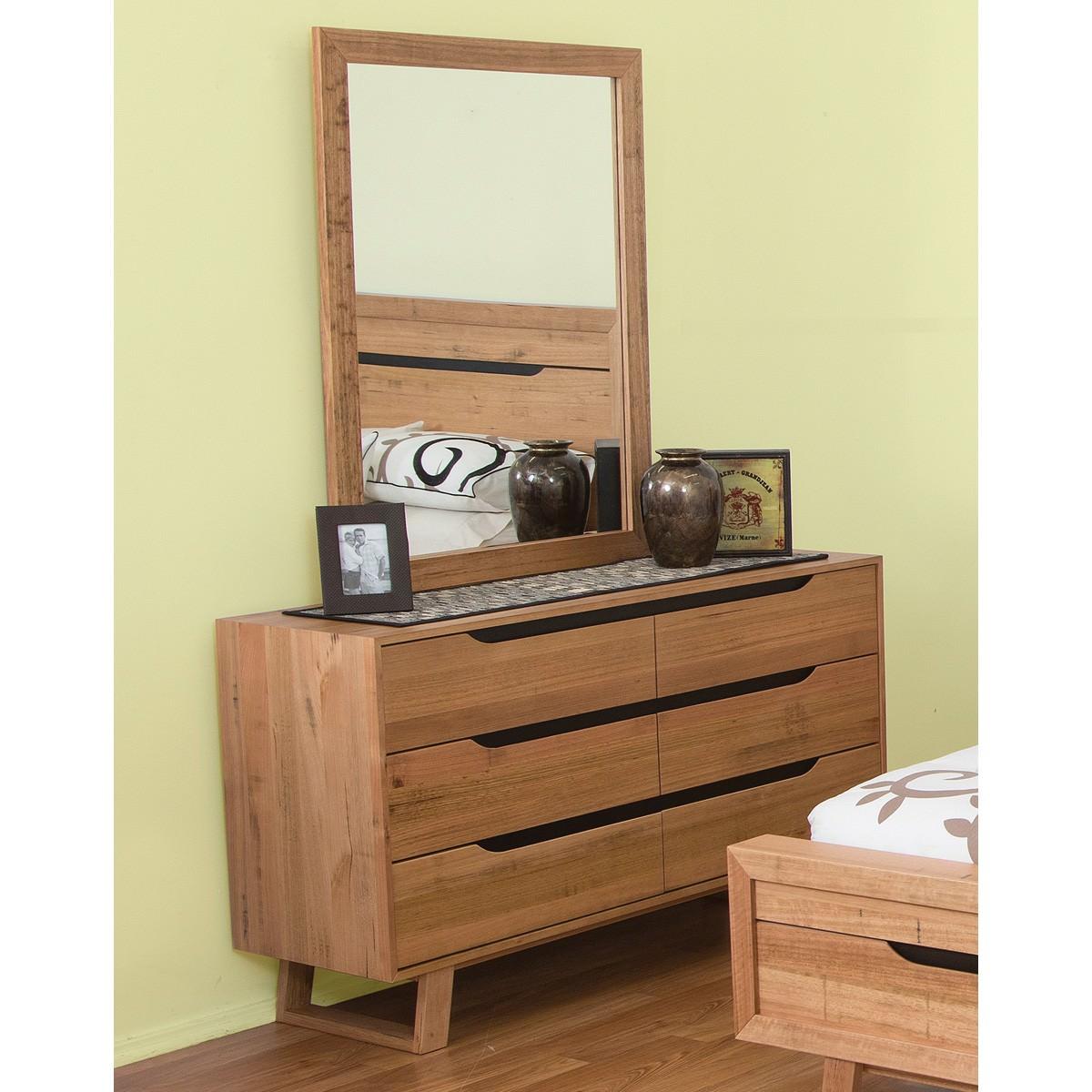 Lismore Tasmanian Oak Timber 6 Drawer Dresser (Dresser Only)