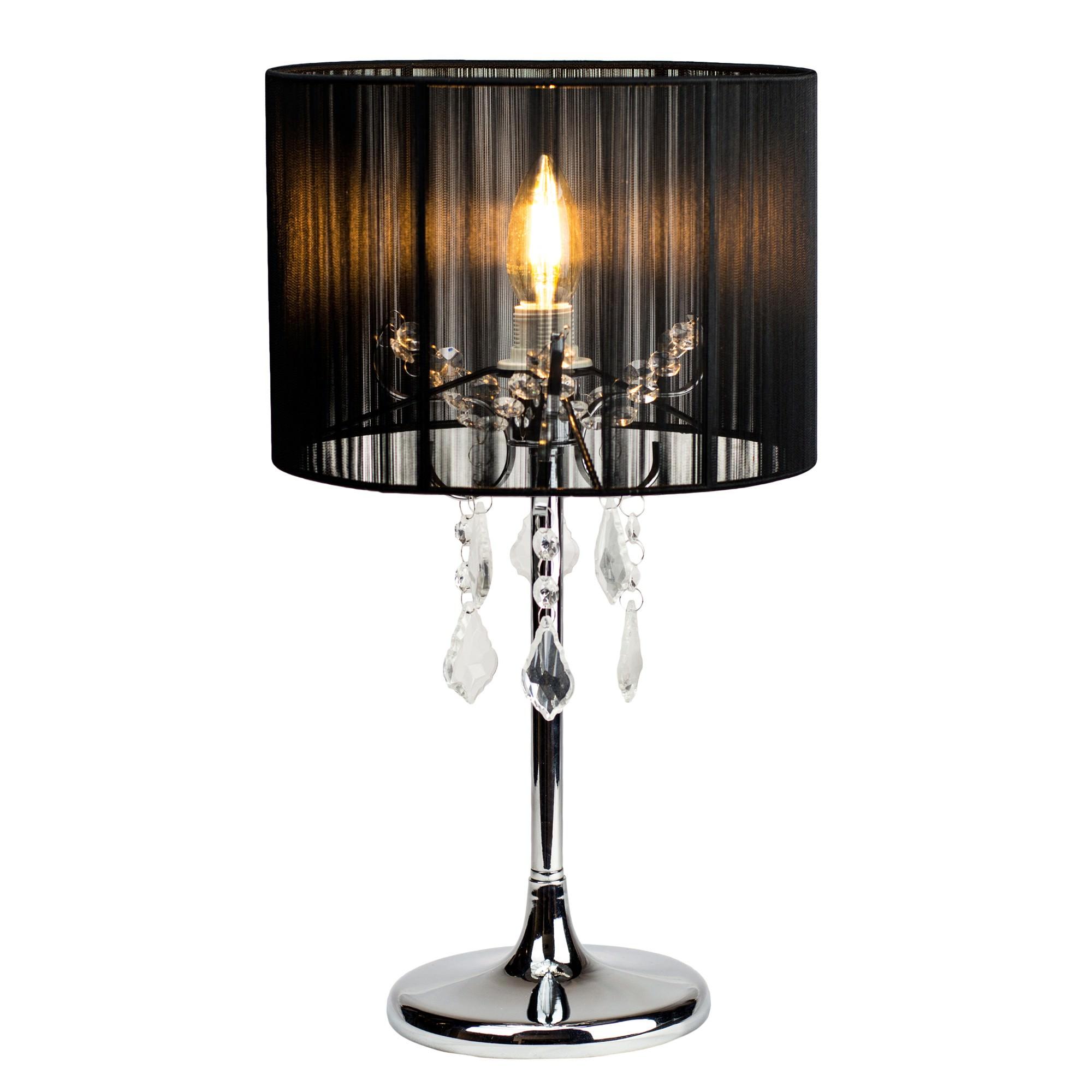 Paris Crystal Table Lamp, Black