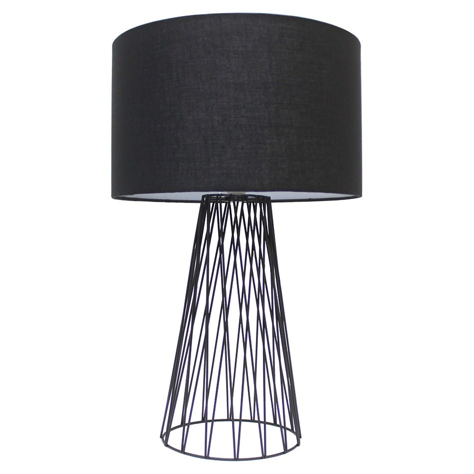Albus Metal Wire Base Table Lamp, Black