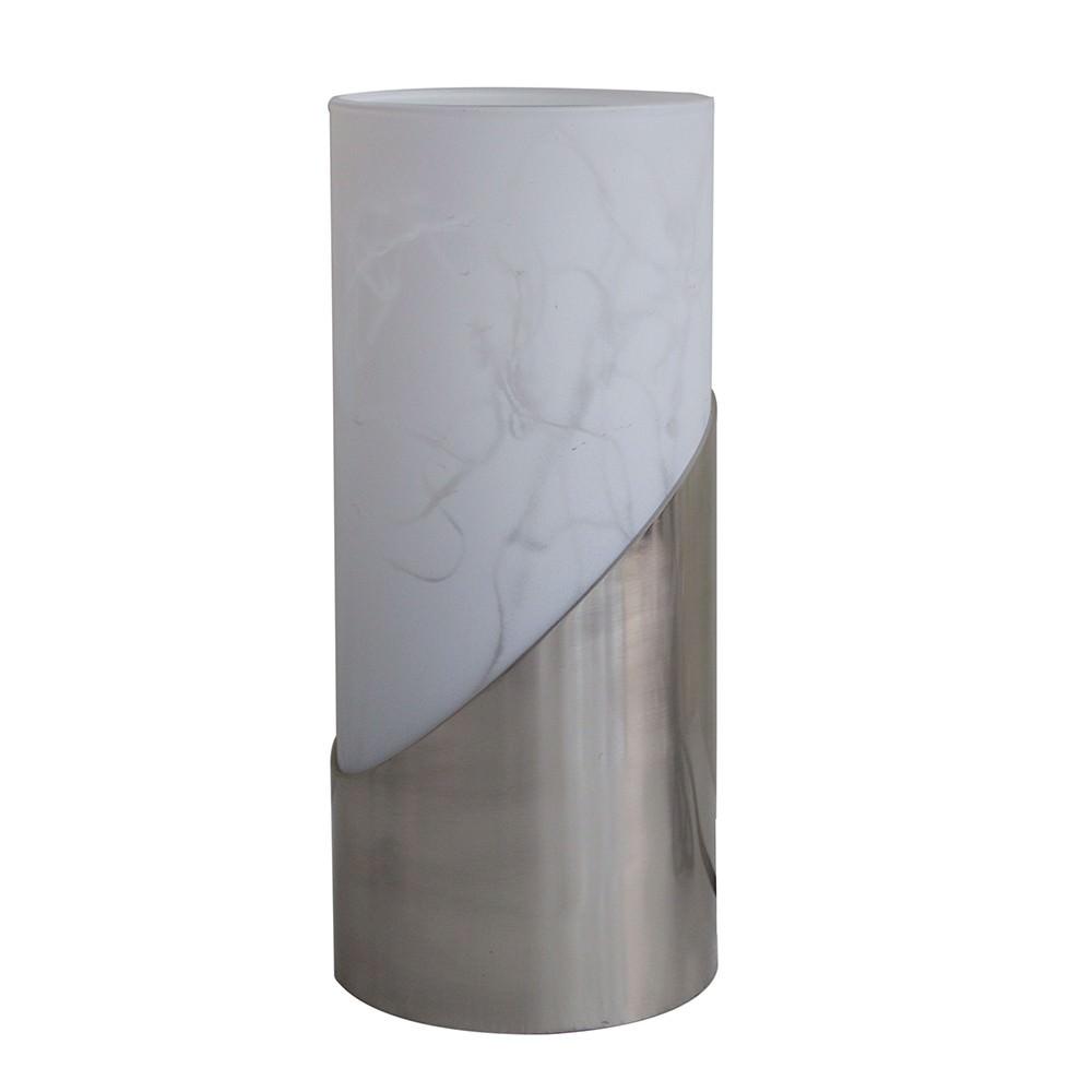 Marc Metal & Glass Table Lamp, Satin Chrome