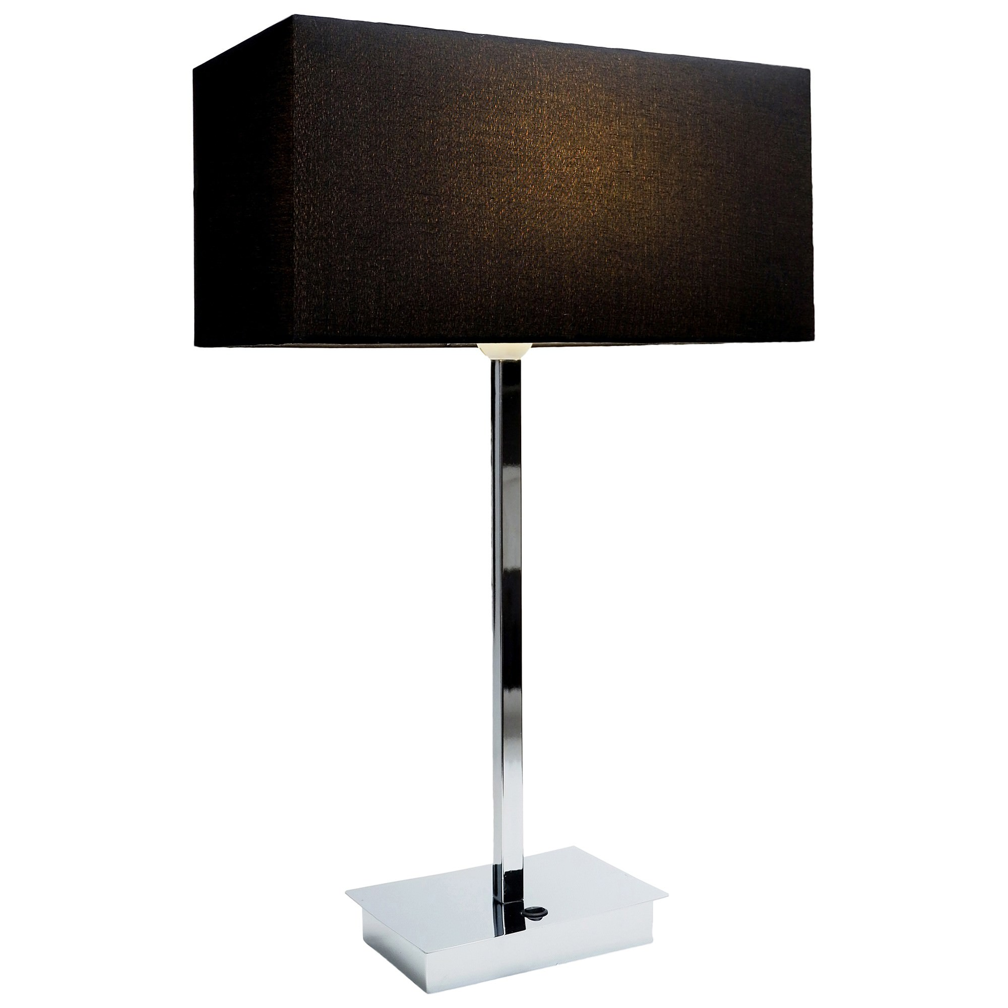 Ampara Metal Base Table Lamp with USB Port, Chrome / Black