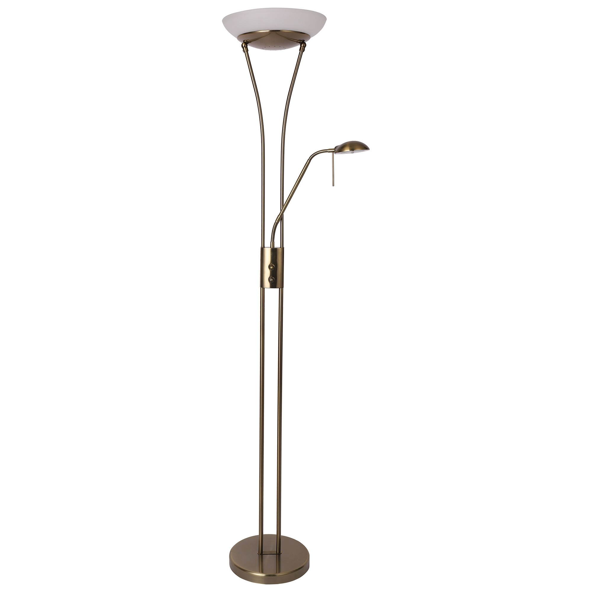 Reed LED Mother & Child Metal Floor Lamp, Antique Brass