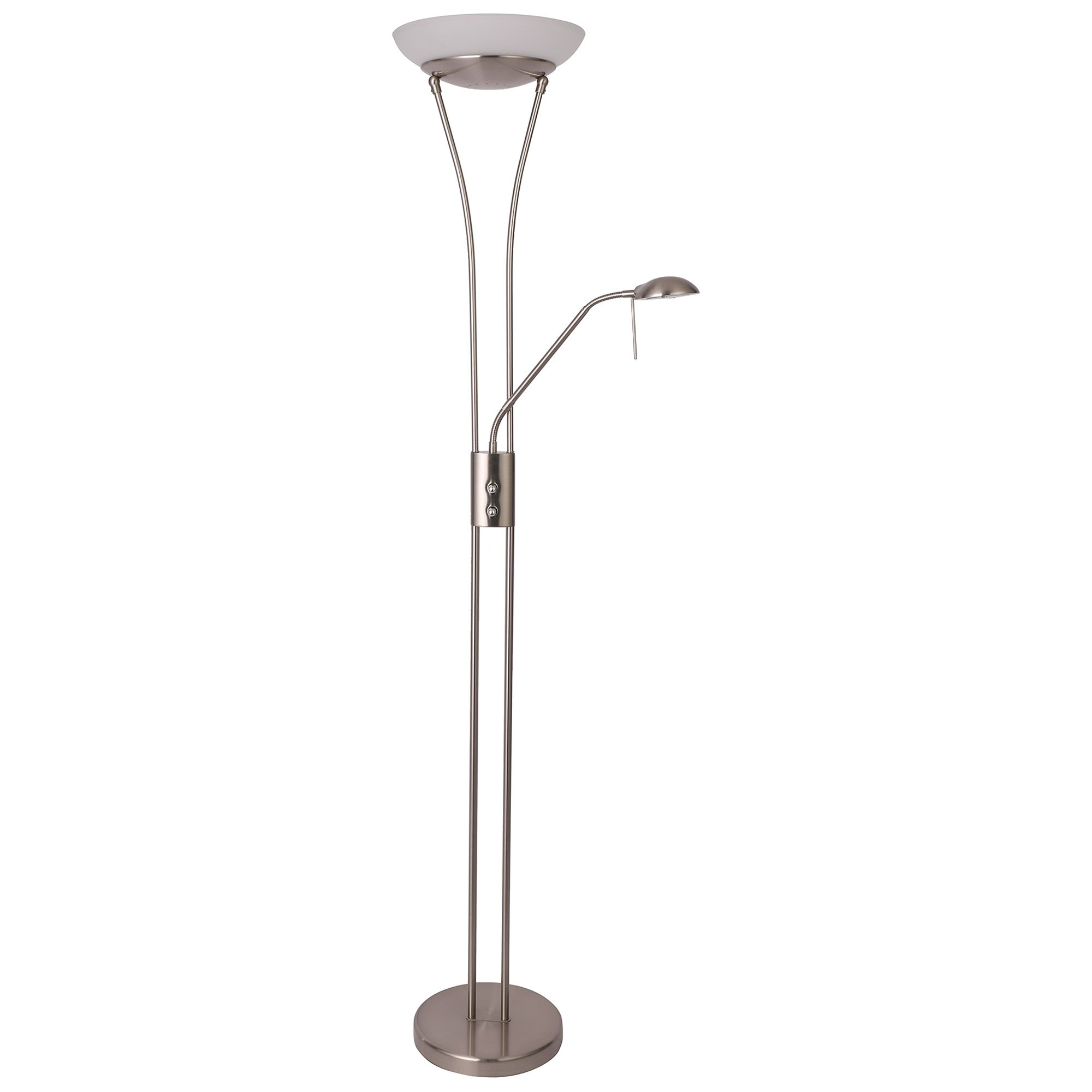 Reed LED Mother & Child Metal Floor Lamp, Satin Chrome