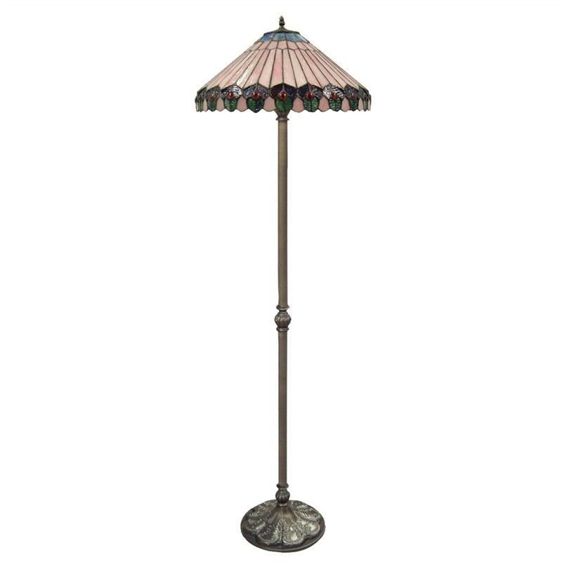 New Jersey Jewelled Glass Lead Floor Lamp - 45cm Shade
