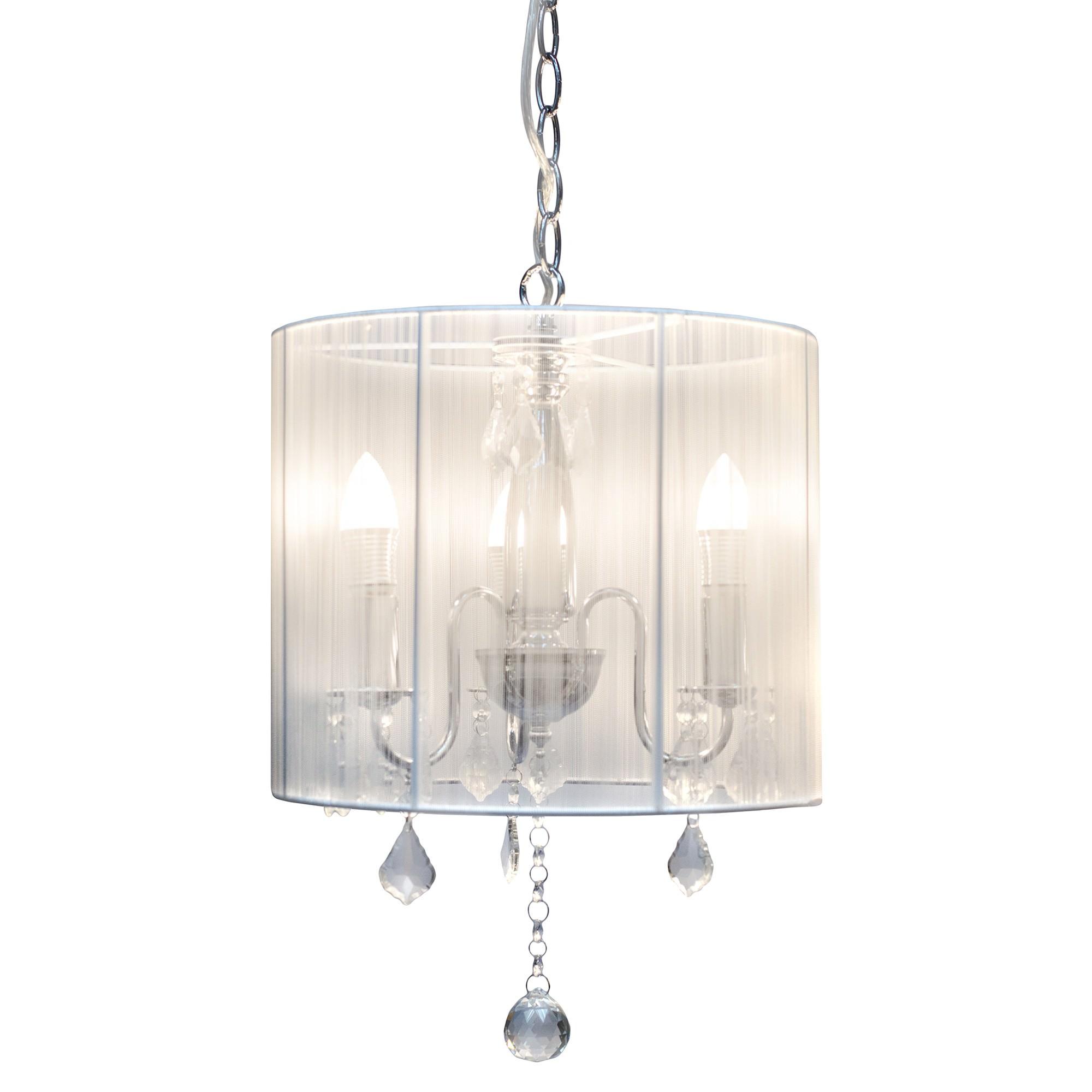 Paris Crystal Pendant Light, 3 Light, White
