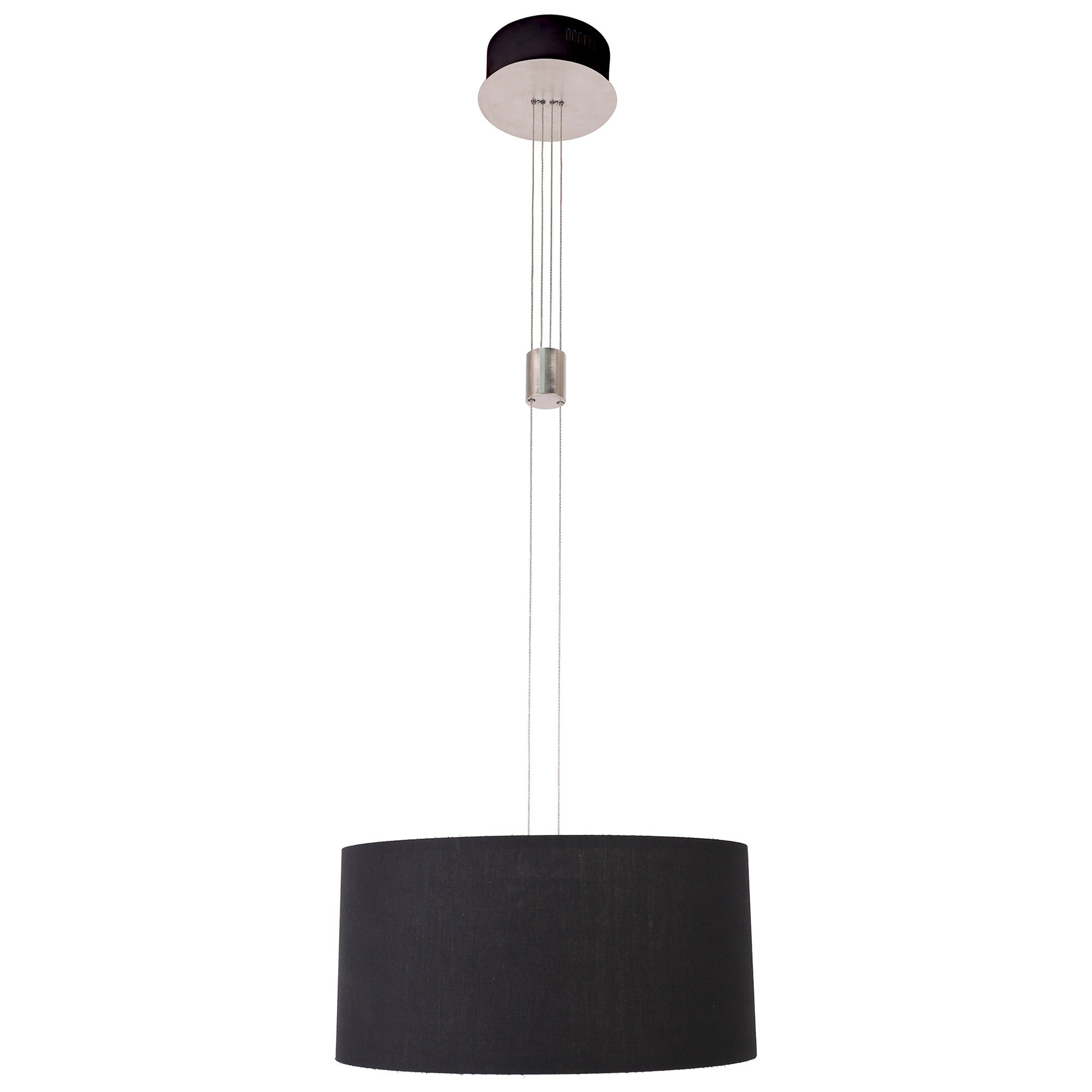 Mia Dimmable LED Rise & Fall Fabric Pendant Light, Black