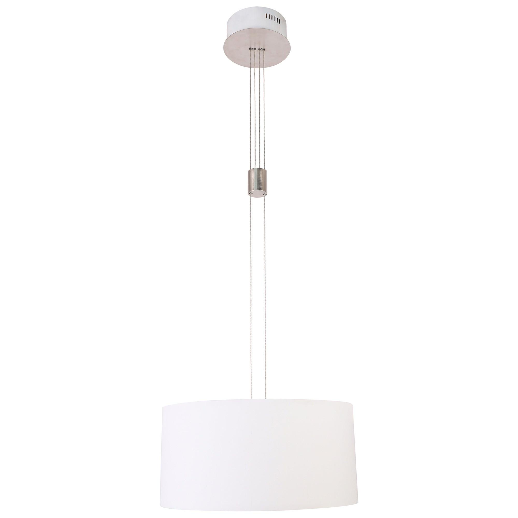 Mia Dimmable LED Rise & Fall Fabric Pendant Light, White