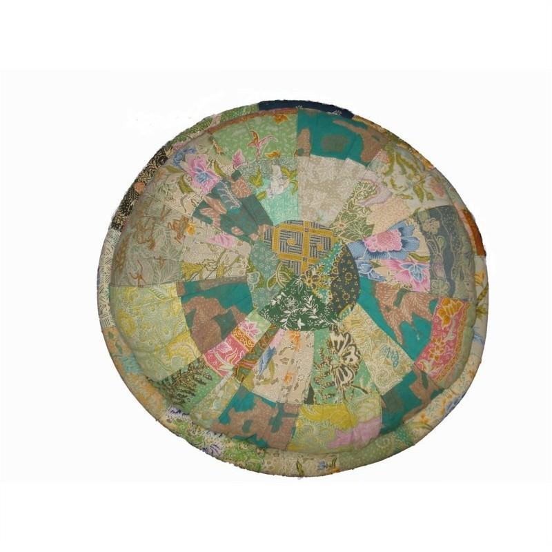 Vintage Patchwork Round Cushion in Green - Medium