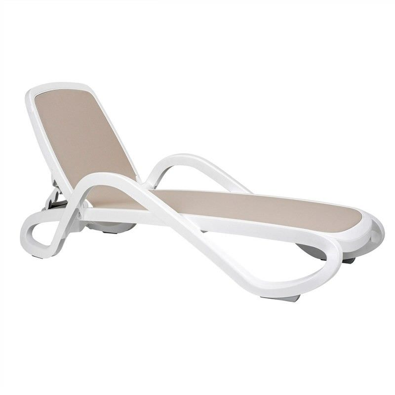 Barbados Italian Made Commercial Grade Stackable Sun Lounge, Taupe / White