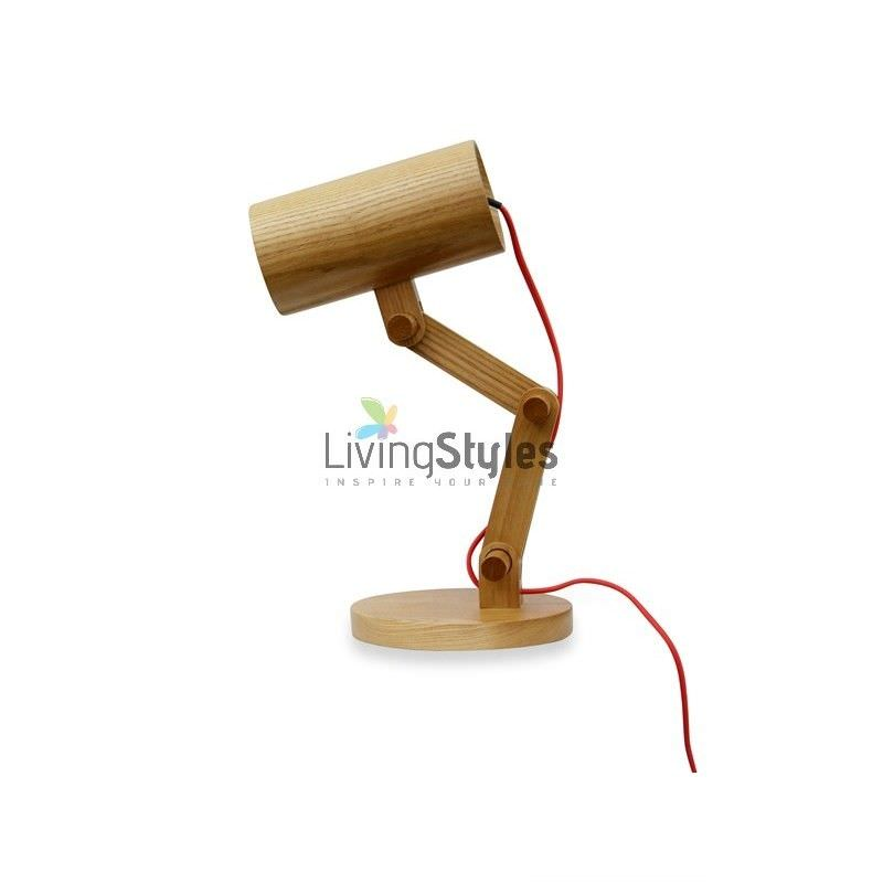 Edvin Solid Ash Wood Timber Table Lamp