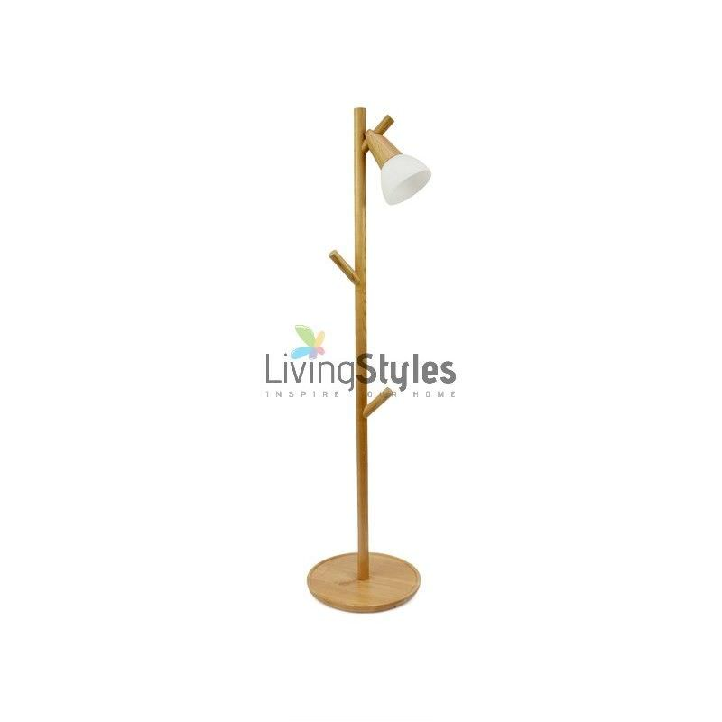 Macedon Solid Ash Wood Timber Mid Floor Lamp