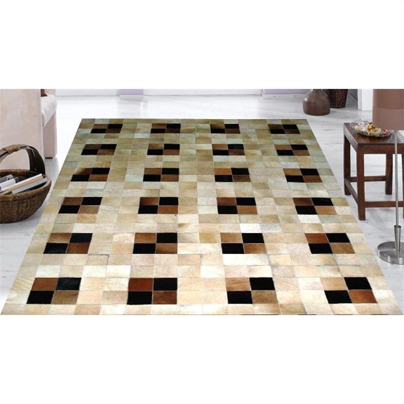 Mombasa Genuine Cowhide Handmade Rug-106 Beige-Brown 110X160