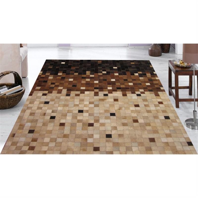 Mombasa Genuine Cowhide Handmade Rug-117 Brown-Beige 155X225