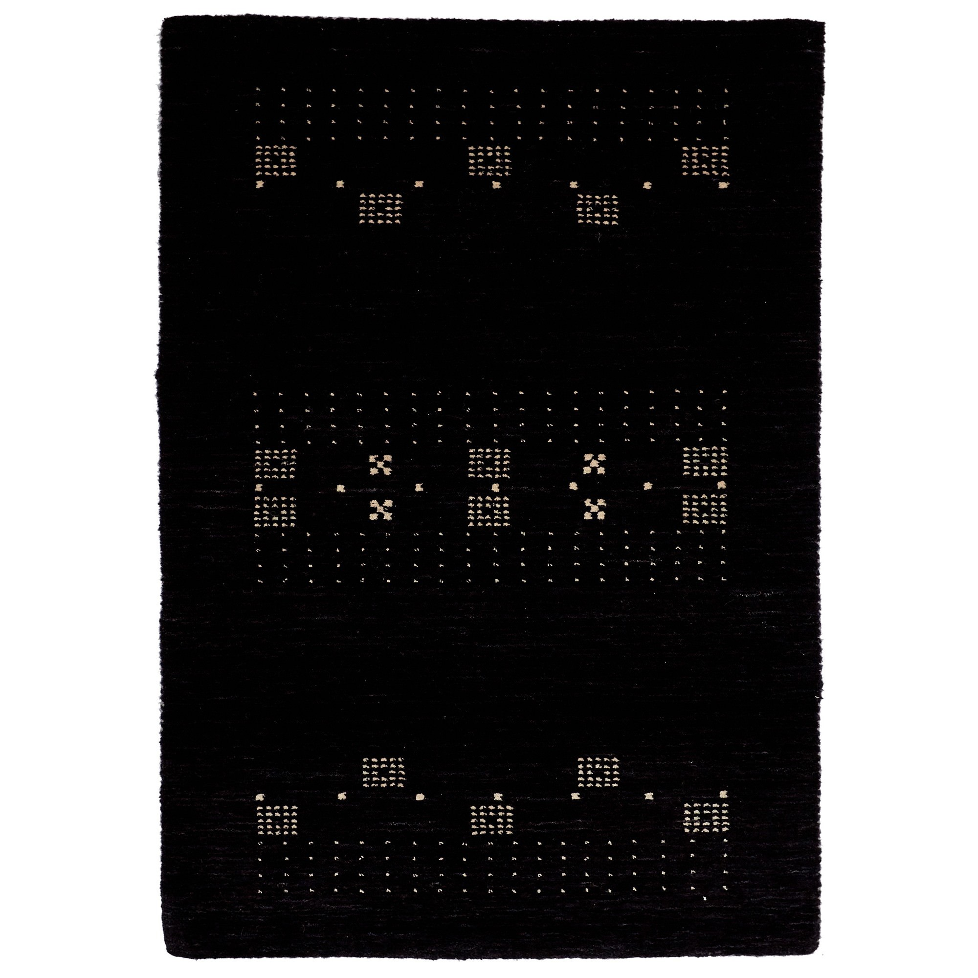 Lori No.042 Wool Tribal Rug, 130x70cm, Black