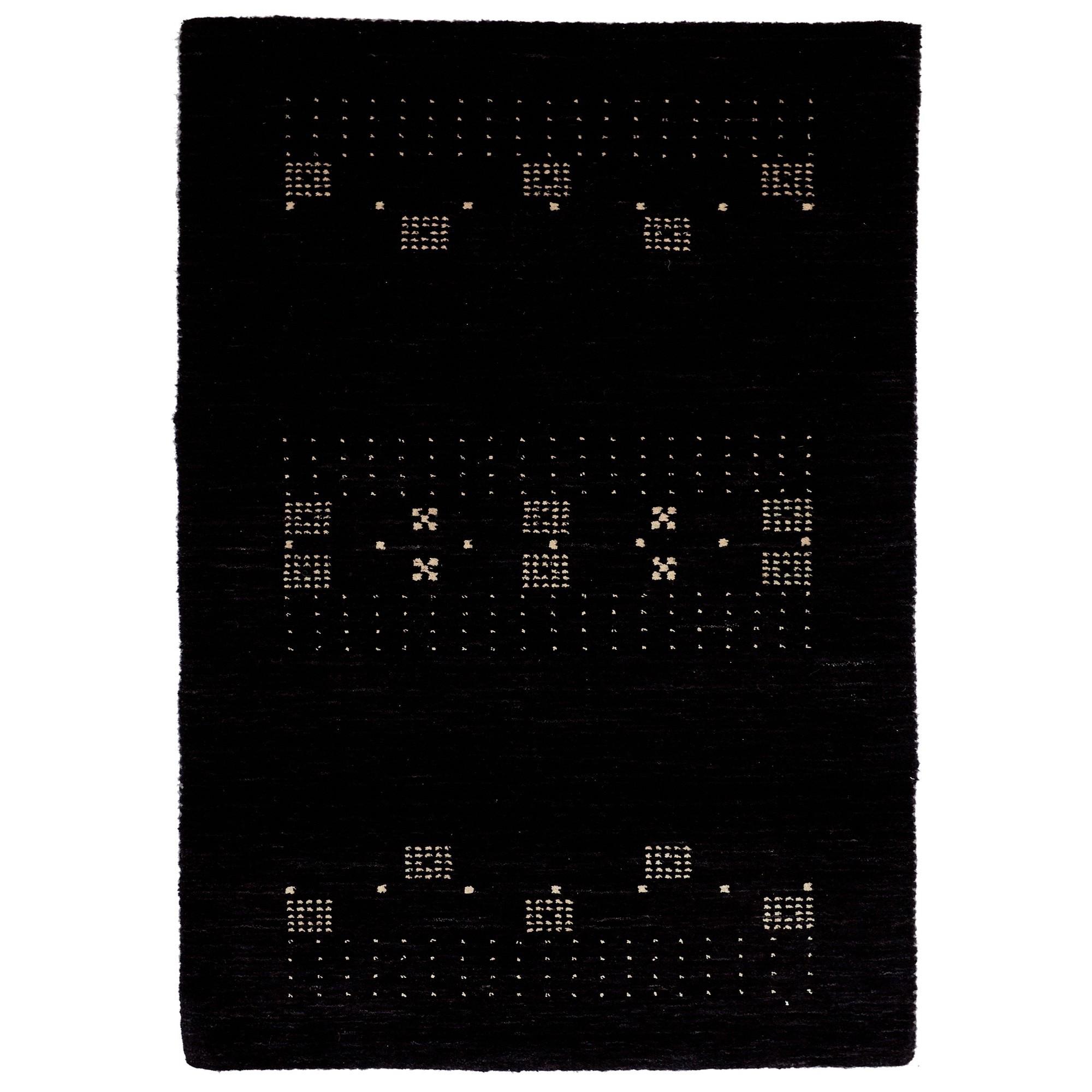 Lori No.042 Wool Tribal Rug, 330x240cm, Black