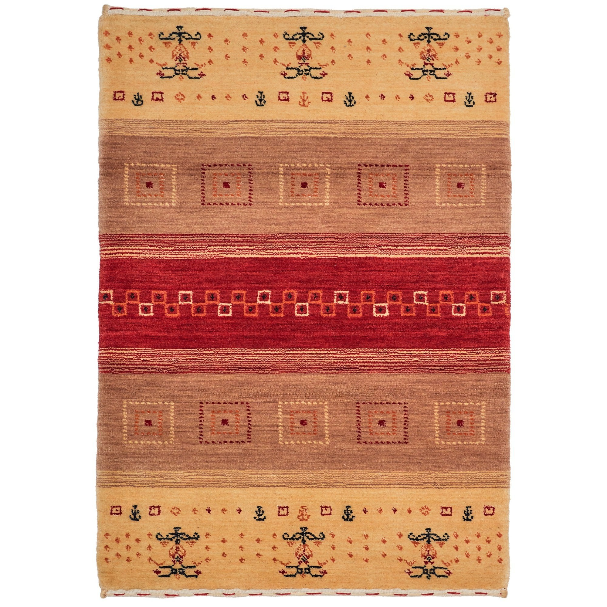 Lori No.198 Wool Tribal Rug, 290x200cm, Camel / Red