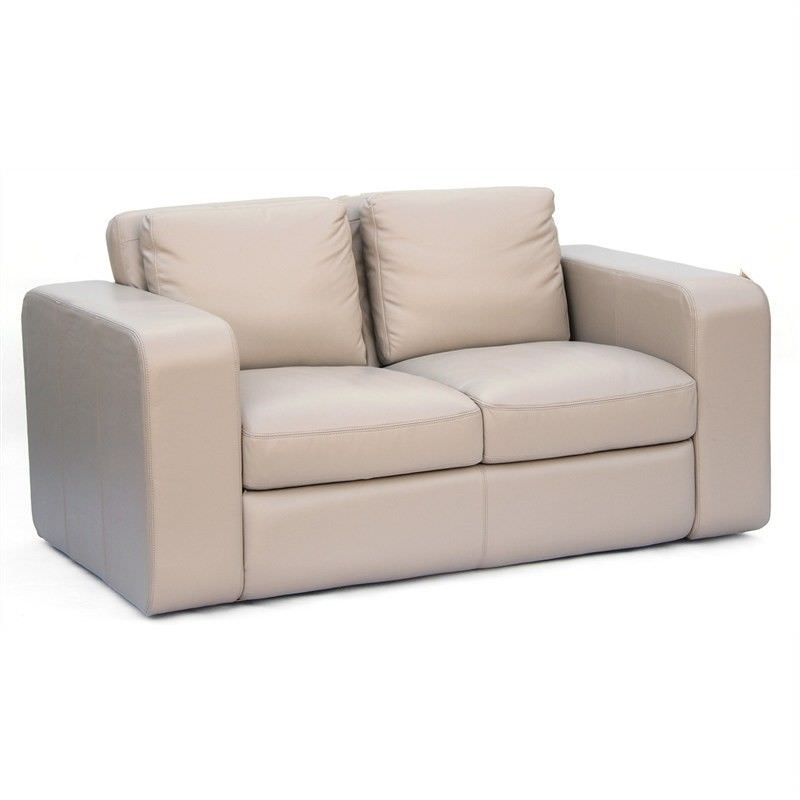 Johnson Genuine Leather 2 Seater Sofa,  Beige