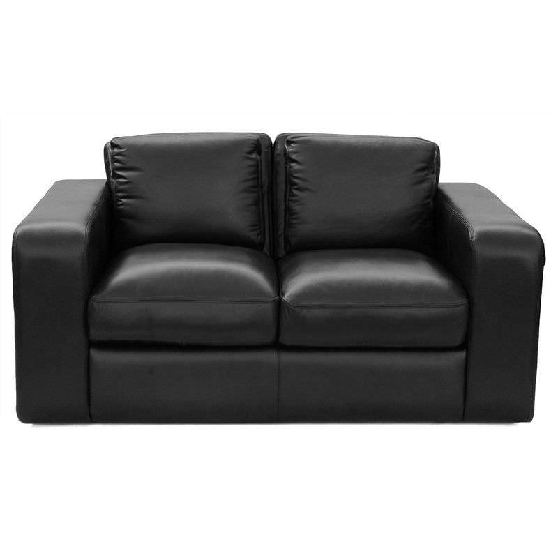 Johnson Genuine Leather 2 Seater Sofa,  Black