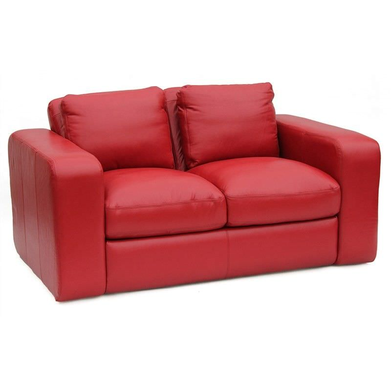 Johnson Genuine Leather 2 Seater Sofa, Red