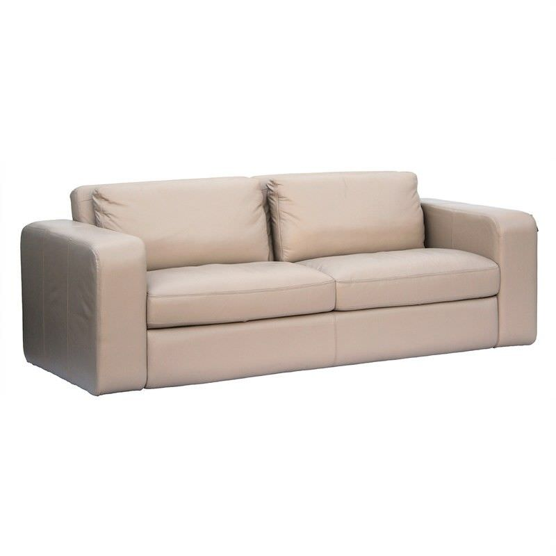 Johnson Genuine Leather 3 Seater Sofa, Beige
