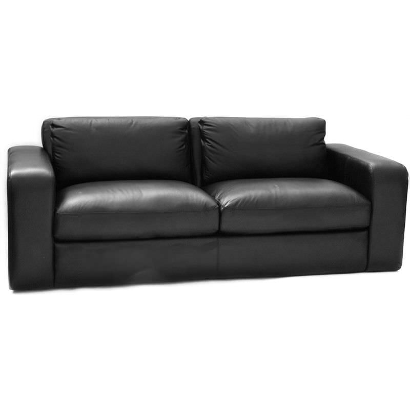 Johnson Genuine Leather 3 Seater Sofa, Black