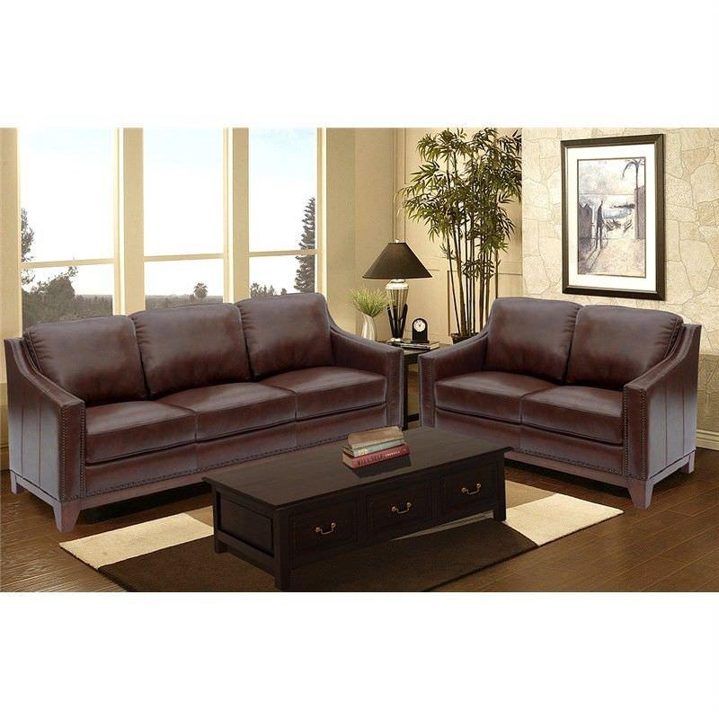Boston Genuine Leather 3+2 Seater Sofa Set - Chocolate