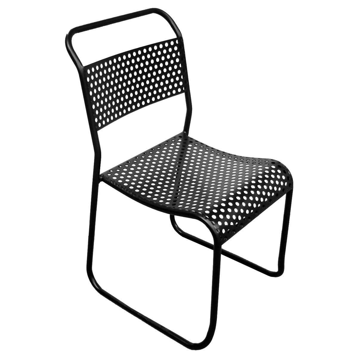 Westleigh Commercial Grade Industrial Iron Tube Chair, Black