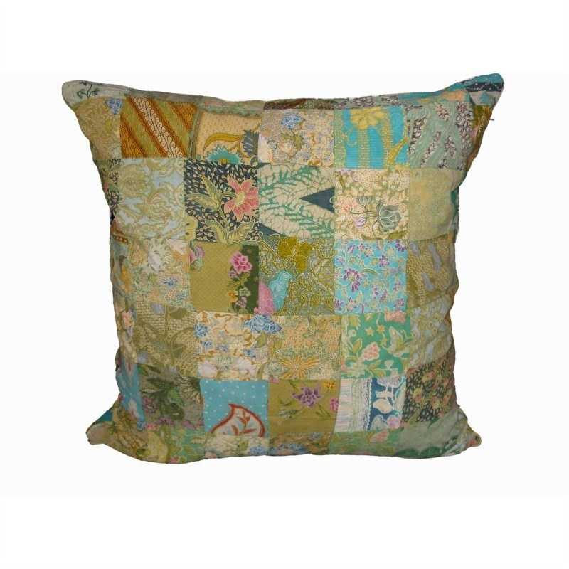 Vintage Patchwork Square Cushion in Green - Large
