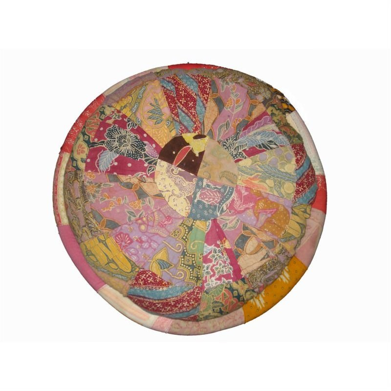 Vintage Patchwork Round Cushion in Pink - Small