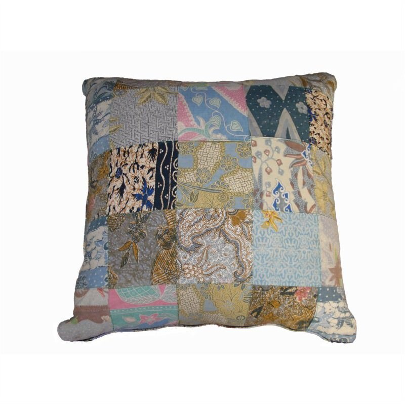 Vintage Patchwork Square Cushion in Blue - Small