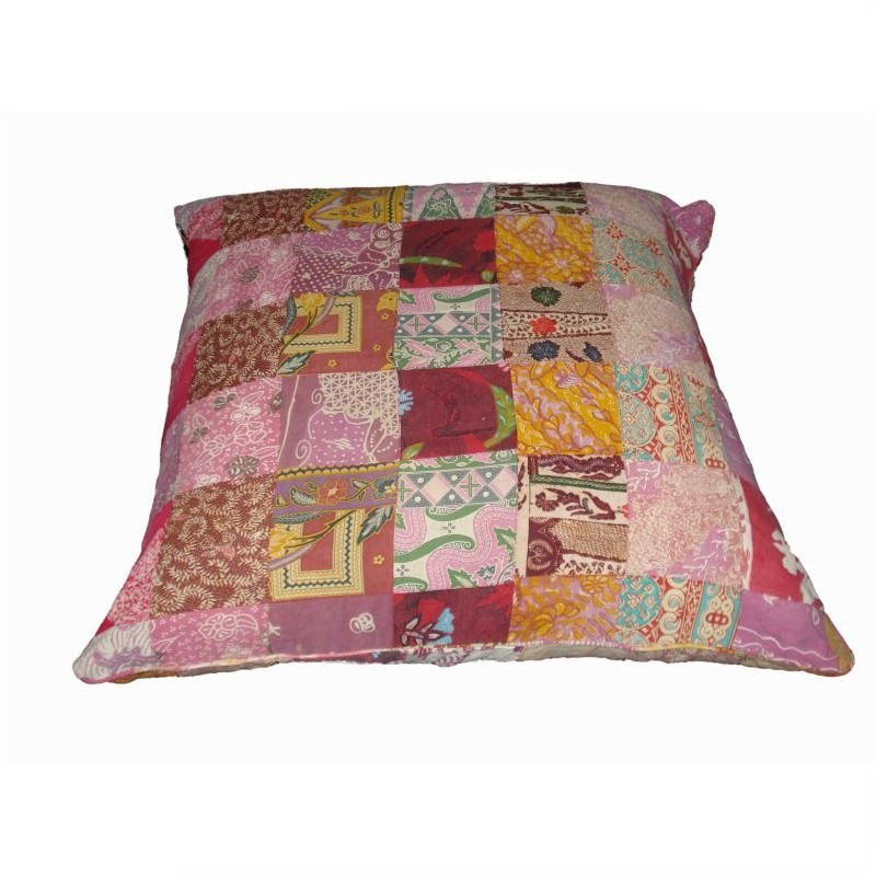 Vintage Patchwork Square Cushion in Pink - Small