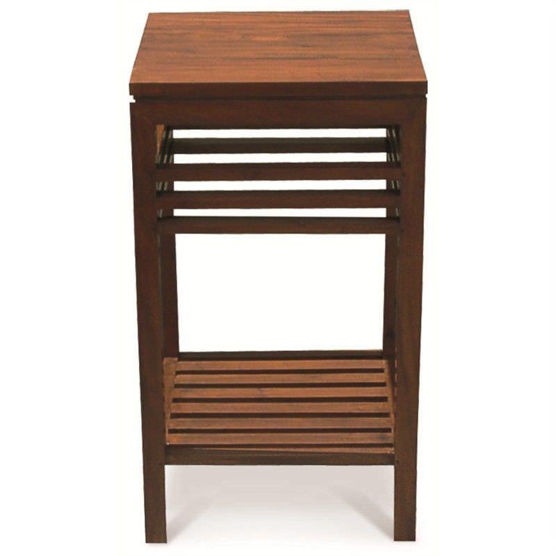 Holland Solid Mahogany Timber Side Table with Shlef, Mahogany