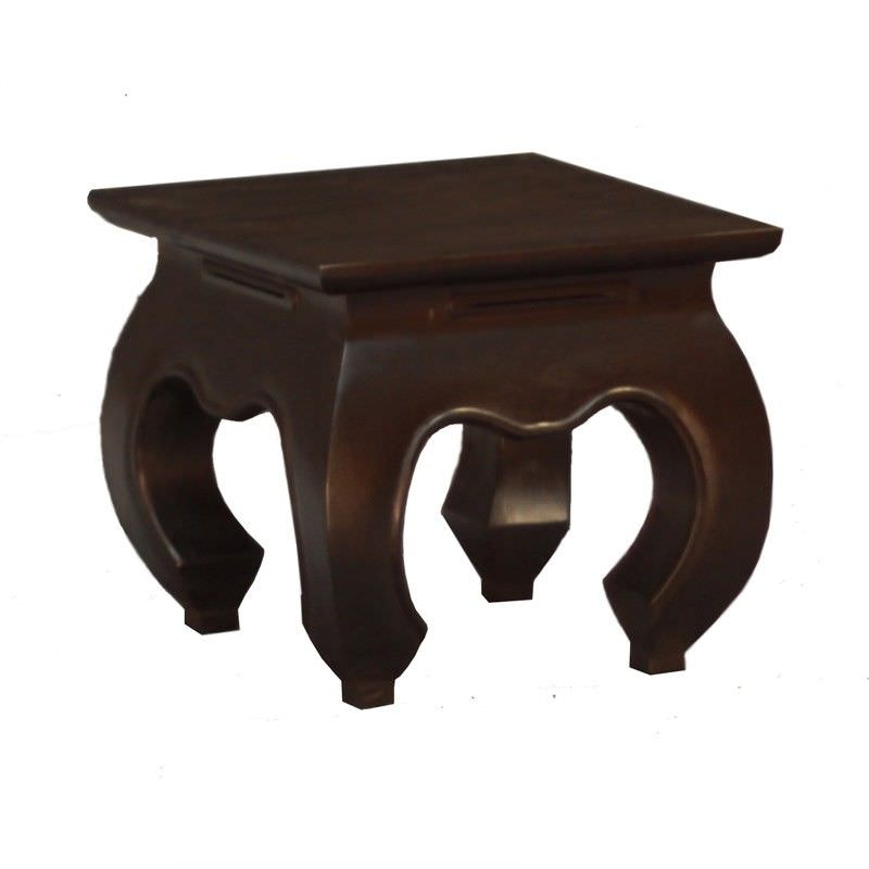 Liam Solid Mahogany Timber Opium Lamp Table, Chocolate