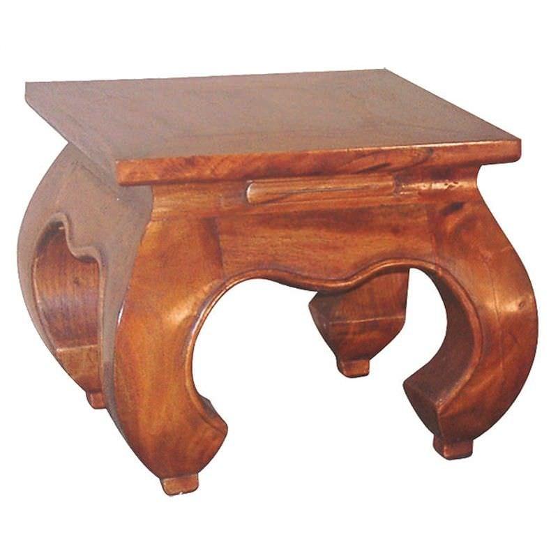 Liam Solid Mahogany Timber Opium Lamp Table - Light Pecan