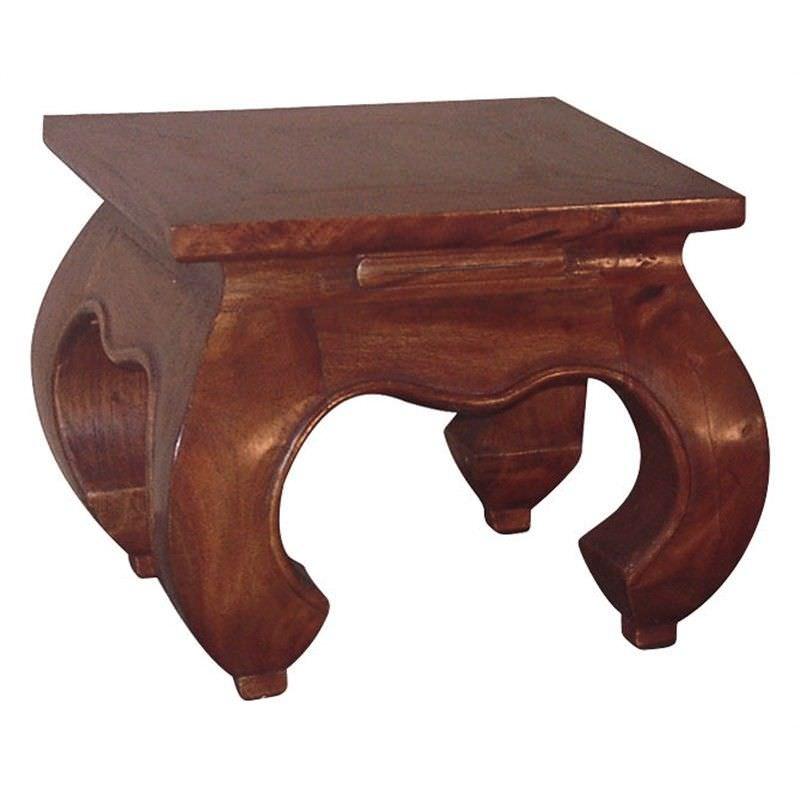Liam Solid Mahogany Timber Opium Lamp Table, Mahogany