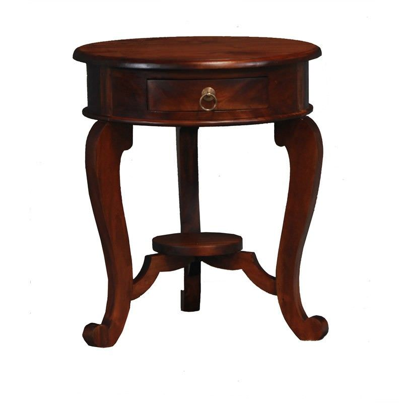 Cabriol Solid Mahogany Timber Round Lamp Table, Mahogany