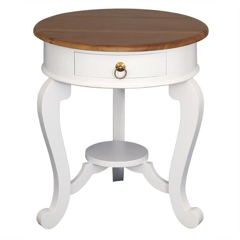 Cabriol Solid Mahogany Timber Round Lamp Table, White/Caramel