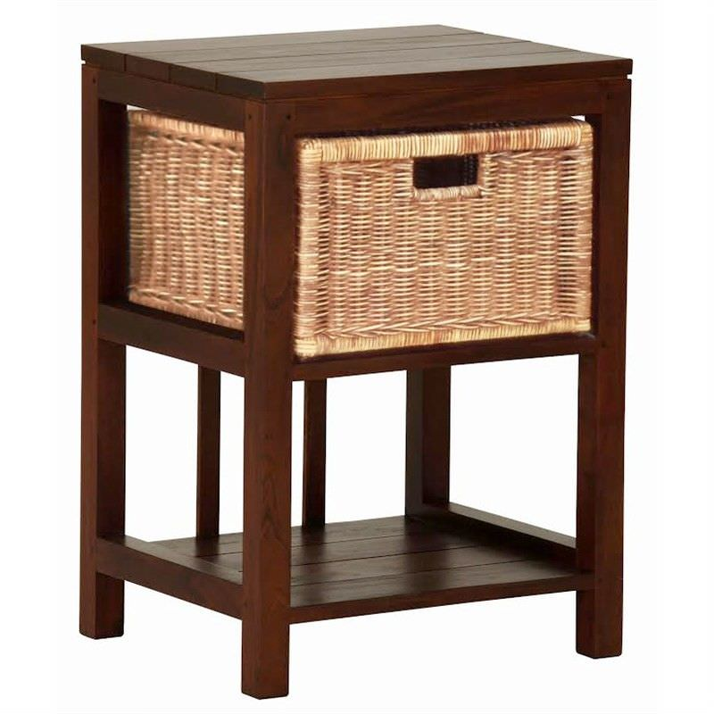 Solid Mahogany Timber Lamp Table with Single Rattan Drawer, Mahogany