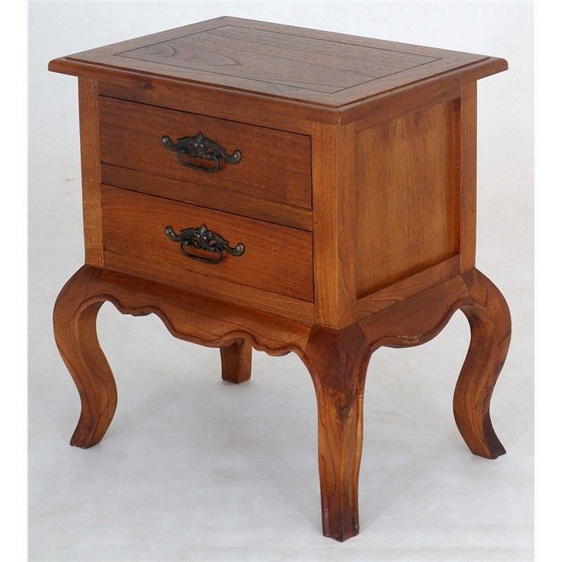 Mervent Solid White Cedar Timber 2 Drawer Lamp Table - Light Pecan