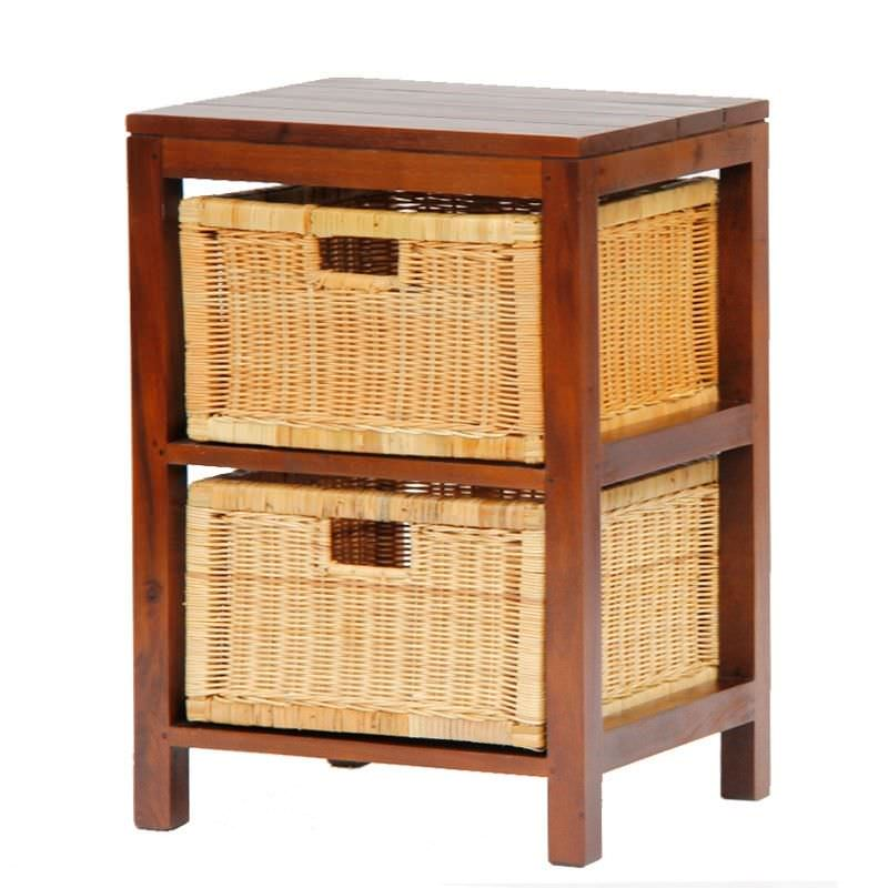 Handcrafted Solid Mahogany Timber 2 Rattan Drawer Lamp Table, Mahogany